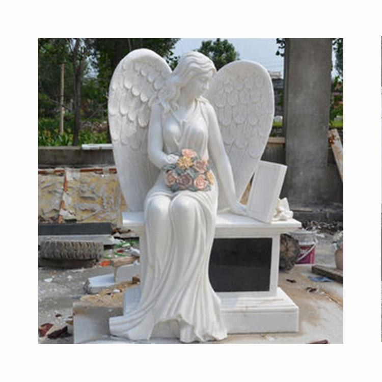 Factory custom stone tombstones and monuments granite sitting angel gravestone granite