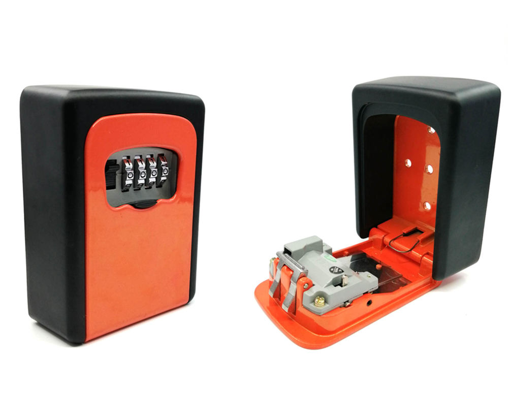 CH-801 Custom 4 Digital Wall Mount lock box Combination Key Safe Storage Lock Box