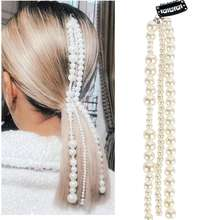 wholesale hot selling pearl tassel hair chains fashion pearls chains hair clips for women girls hair accessories