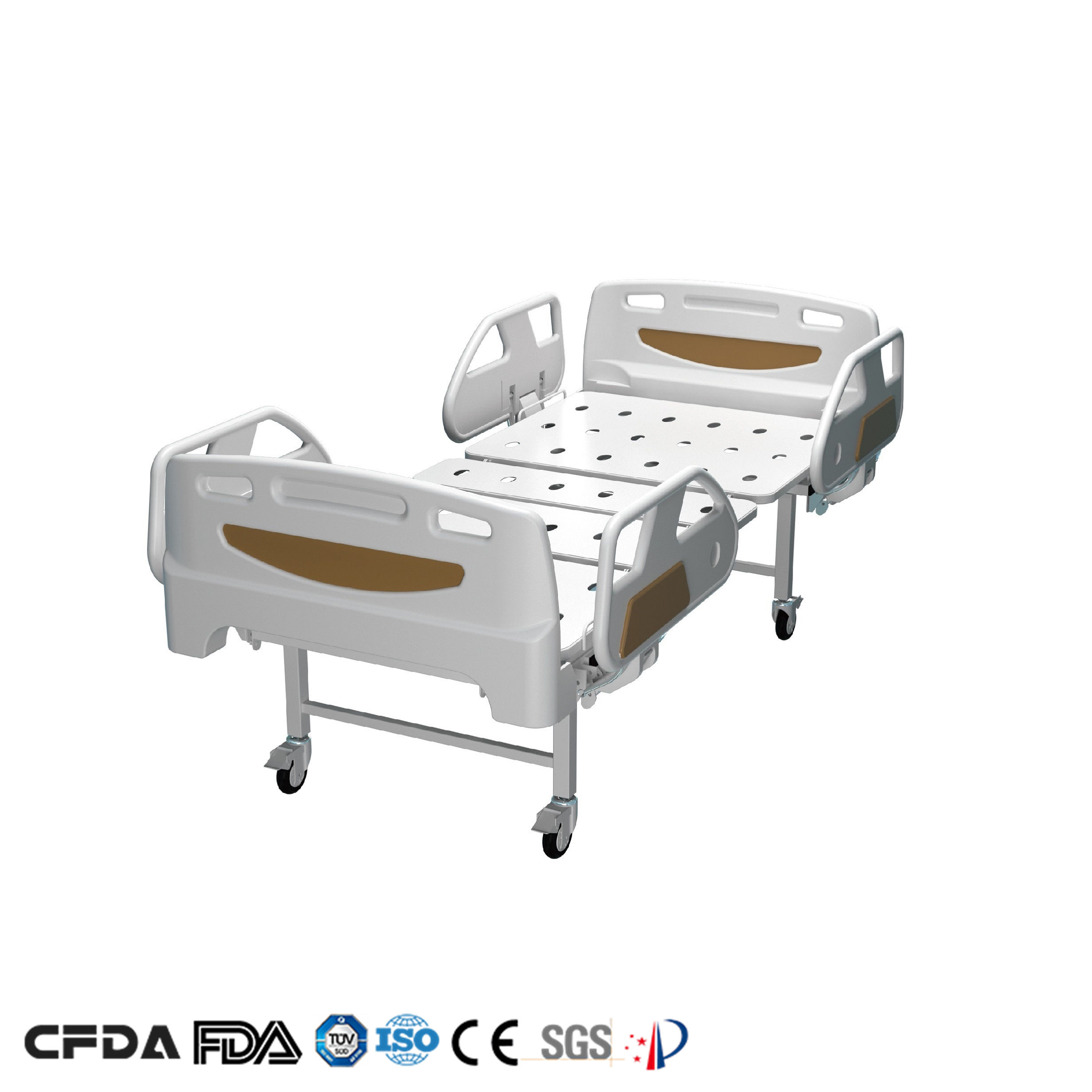 Free Design CE/ISO/FDA China Iron 2 Two Double Cranks Hospital Bed Price with Wheels Manufacturer