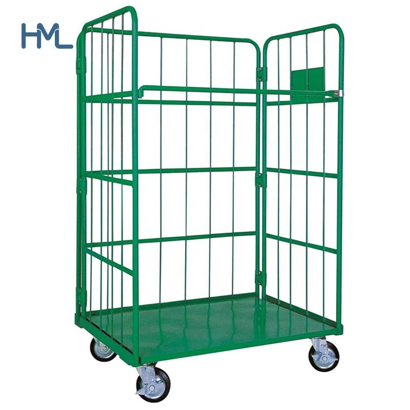 A frame cargo nesting insulated warehouse supermarket storage Korea steel foldable platform trolley 500kg