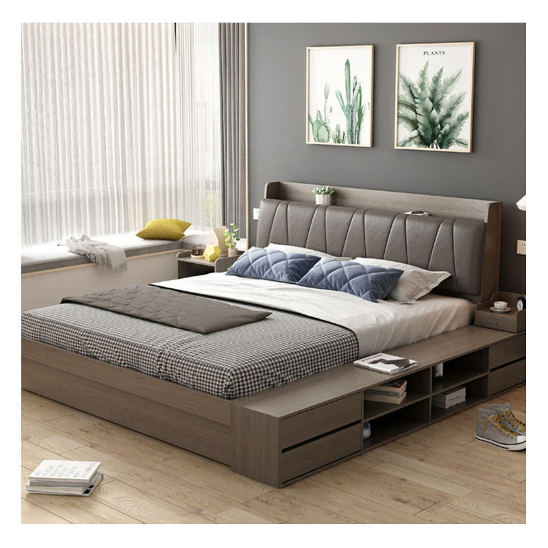 Simple moderno <span class=keywords><strong>dormitorio</strong></span> <span class=keywords><strong>muebles</strong></span> 1,8 m <span class=keywords><strong>tatami</strong></span> cama nórdica <span class=keywords><strong>dormitorio</strong></span> <span class=keywords><strong>de</strong></span> almacenamiento <span class=keywords><strong>de</strong></span> doble tablero <span class=keywords><strong>de</strong></span> MDF cama