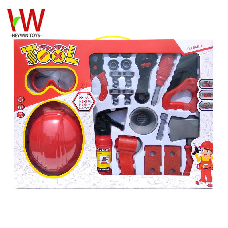 Pretend Play Toys TOOL Fun Set helmet goggles extinguisher hatchet screwdriver saw spanner Fire fighting tool Children Toy(HT03)