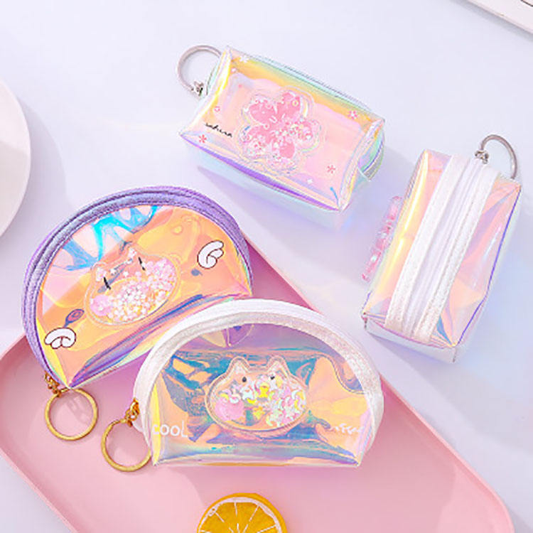 New Square shape shell shape laser pvc quicksand coin purse women ladies girls gifts key holder money wallet