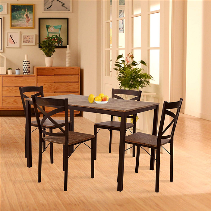 Kitchen dining table chairs sets with steel frame