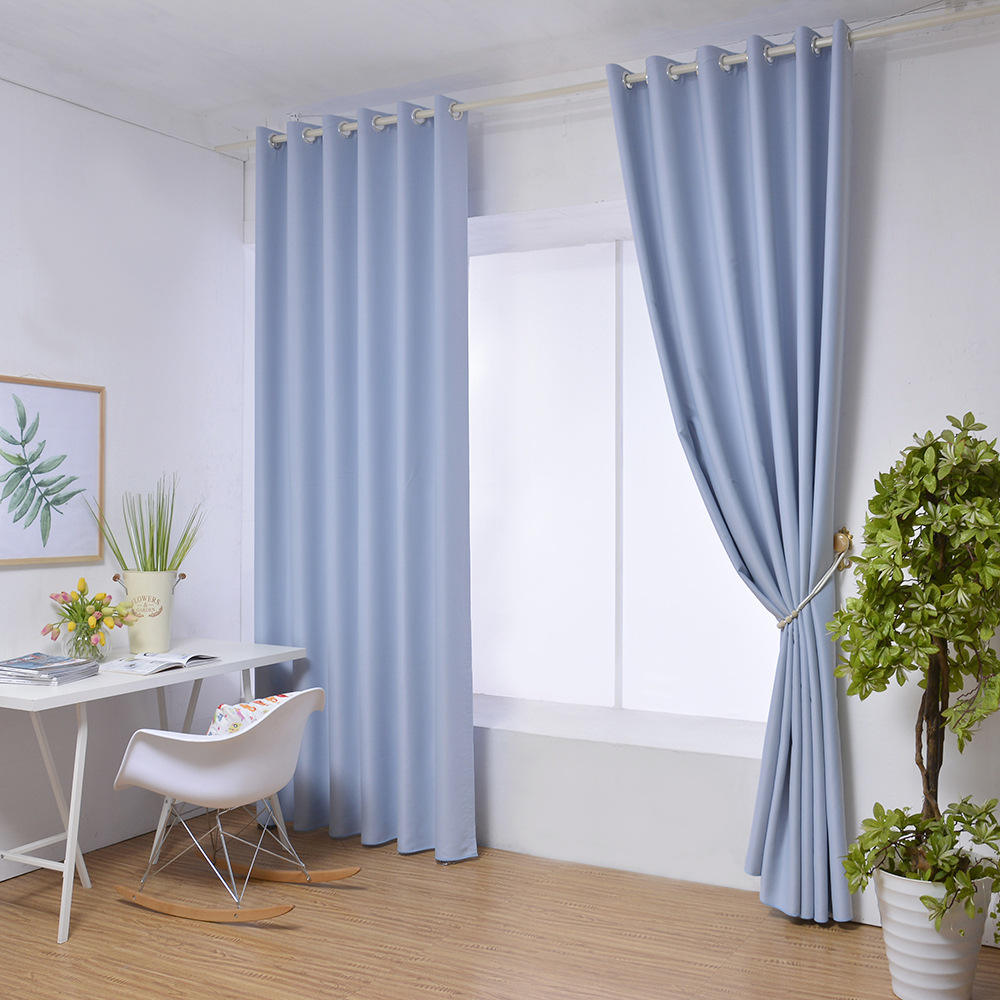 New bedroom living room solid color shading awning high precision plain floor to ceiling window curtains