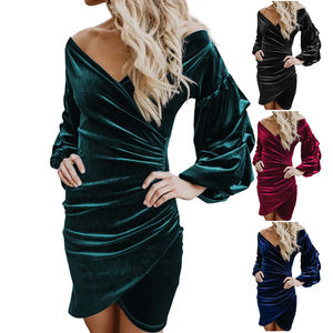 Affordable Prices Puff Sleeve Sexy Wrap Women Green Velvet Bodycon Dress