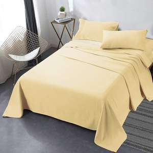Ready to ship Pleated hem bamboo bed sheets Soft Brushed 75gsm Microfiber 3pcs and 4pcs