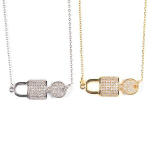 Hot sale lucky cross chain key and lock pendant necklaces, mirco pave zirconia cross thin chain chokers necklace
