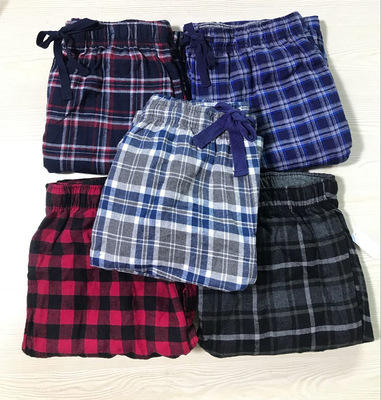 Custom Men's Cotton Flannel Plaid Pajama Pant Bottom Lounge Sleepwear with Pockets