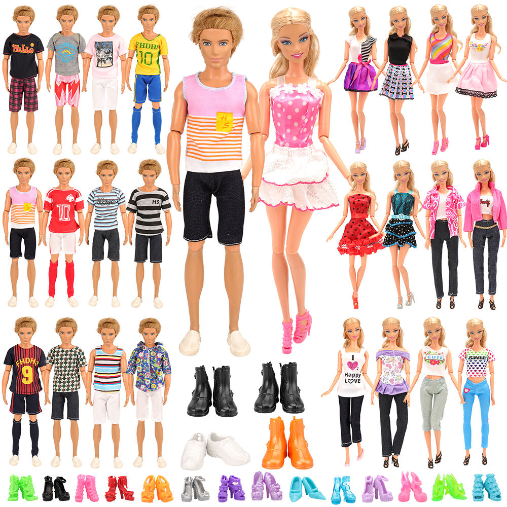 Newest Handmade Random 21 Items/set Doll Product =6 Ken clothes 4 Shoes + 5 Doll Shoes 6 Dolls Dress For Barbie Game DIY Present