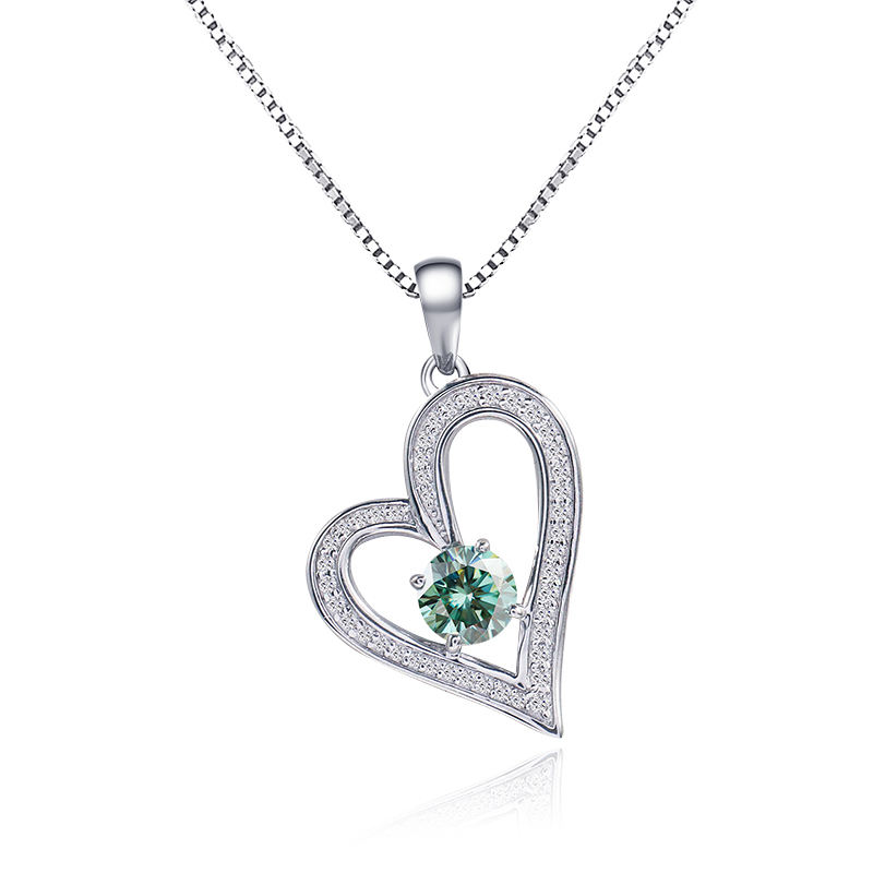 Lovely heart 925 sterling silver pendant necklace with blue moissanite handy gift