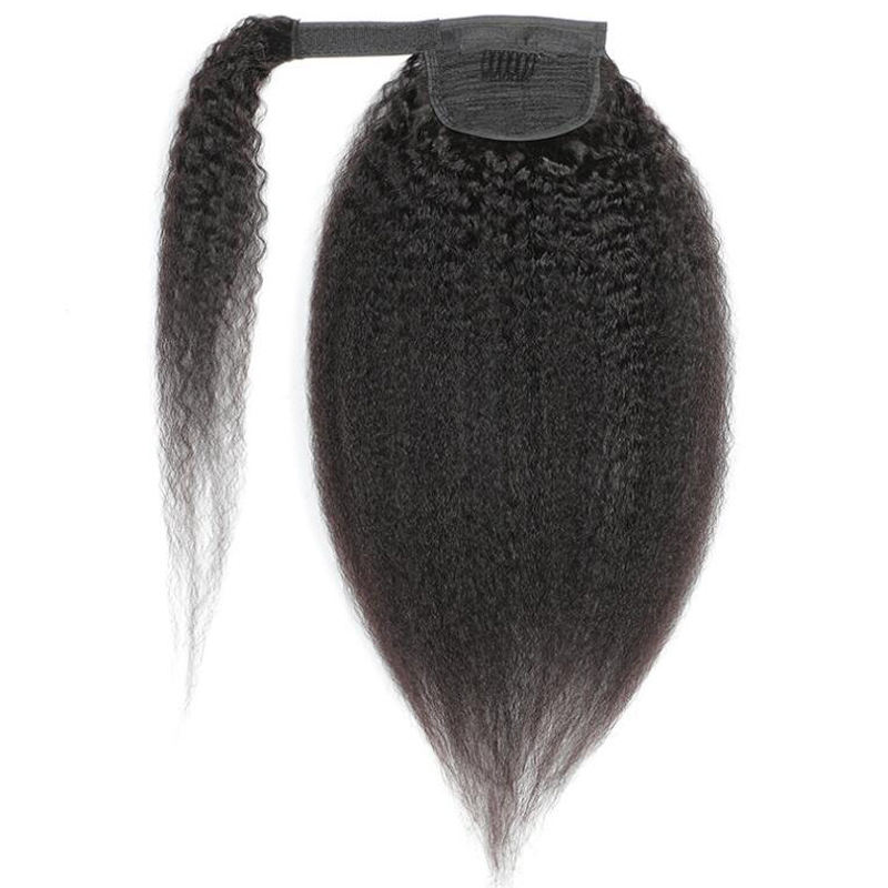 Wholesale straight private label clip in ponytail hair extensions, raw cuticle aligned brazilian clip in ponytail hair pieces