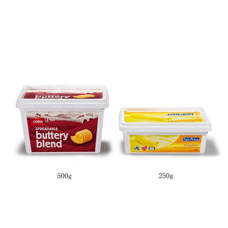 Wholesale disposable eco friendly custom 250g,500g rectangle margarine packaging plastic plastic butter containers