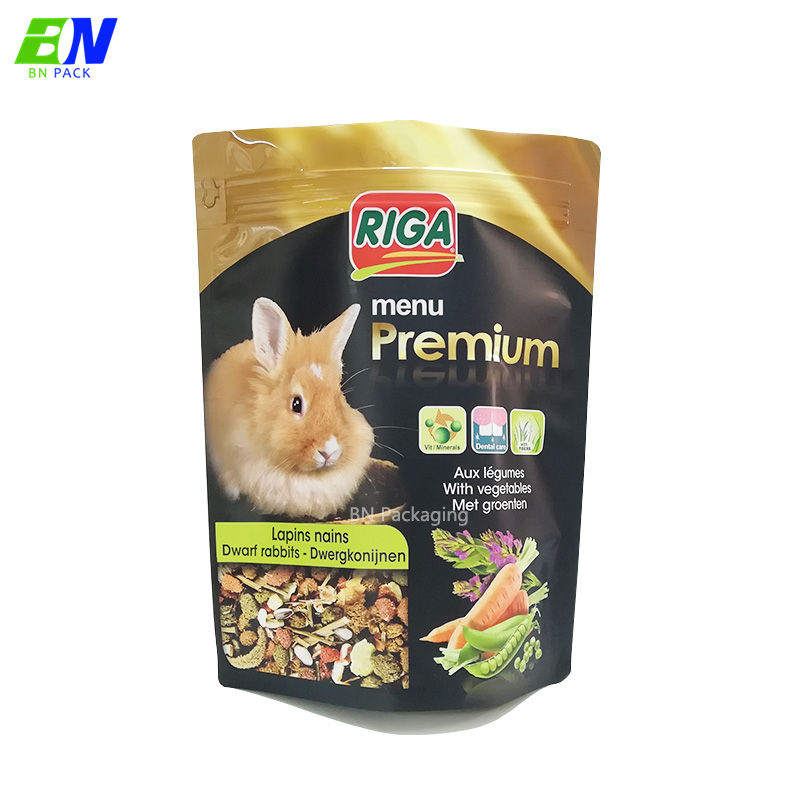 3kg pet food packaging quad sealed bags foil lined stand up side gusset pet food bag for rabbit food
