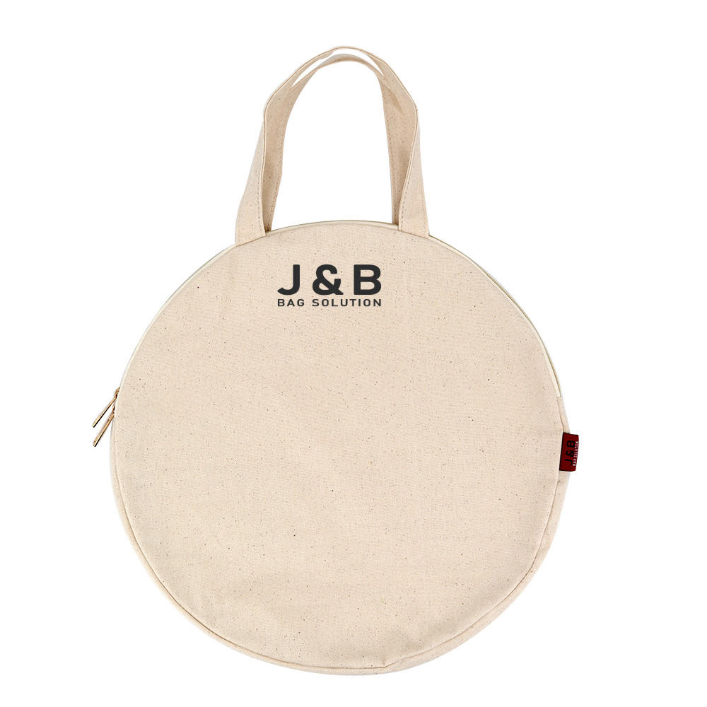Designed plain canvas tote bag for makeup round cotton tote bag with zip recycled shopping bag with private label