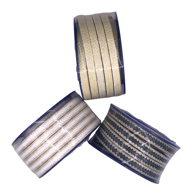 Different Size Seal Pure PTFE Filled Carbon Aramid Fiber Stack Packing For Pump