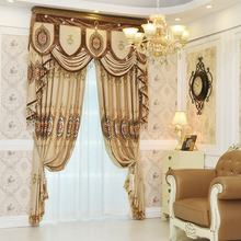 Latest decorative custom retail luxury home jacquard window valance curtain for the living room USA gold curtain designs factory