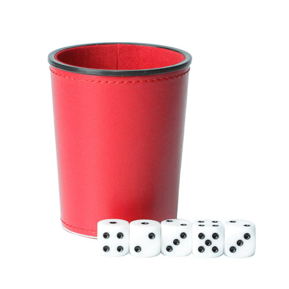 KTV Game Accessory PU Leather Dice Cup Set with 6 Dot Dices