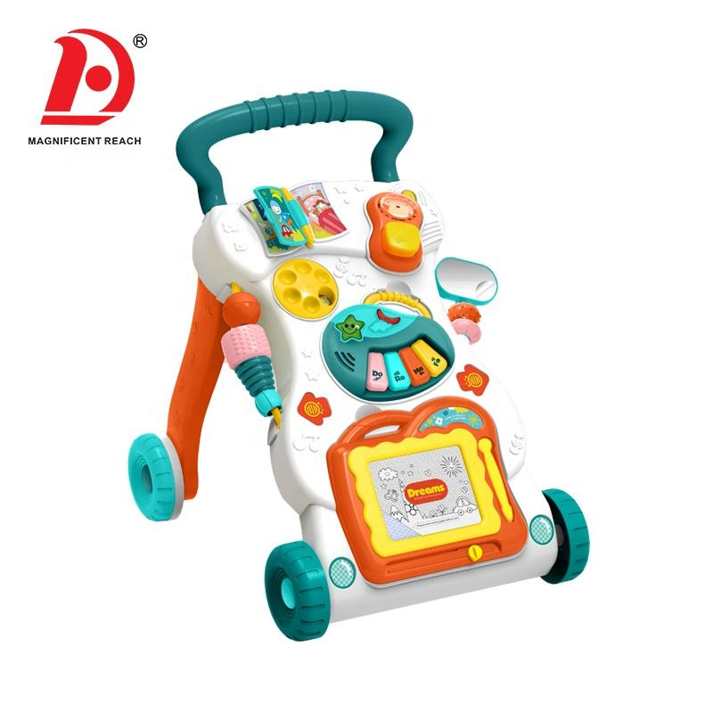 HUADA 2020 juguetes bebe Cheap Multifunctional First Step Musical Baby Learning Walker Push Car Toy in Wholesale