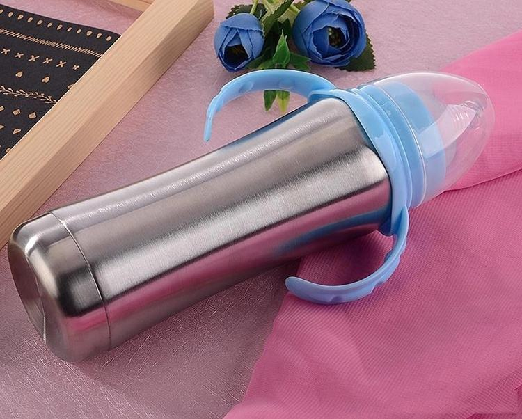 (sample available) 8oz stainless steel tumbler baby feeding bottle with handle insulated toddler infant sippy cup milk bottle