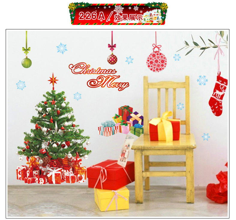 Art Santa Claus Christmas Tree Mural Stickers Can Be Customized Wall Stickers