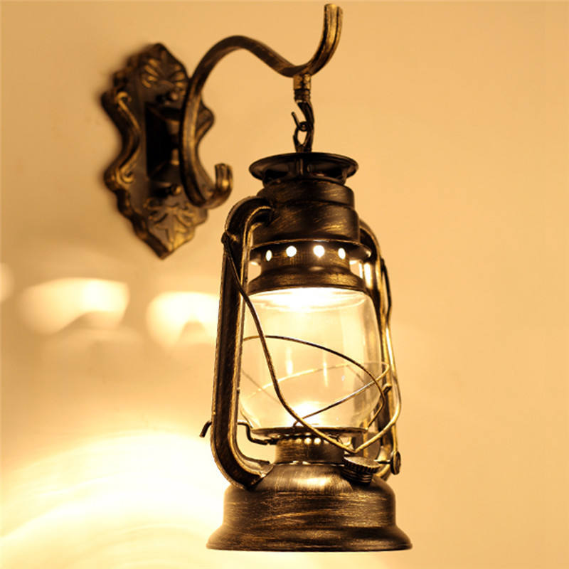 16x36 cm Loft Old Fashion Retro Style Vintage Antique Glass Industrial Light Wall hanging Lamp Without Bulbs Hot Sale