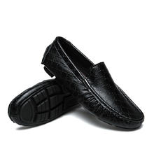 Genuine Leather Mens Casual Shoes Stylish Driving Moccasins Flats