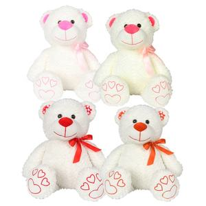 Customized Cute Soft Stuffed Plush Valentines Day Teddy Bear With Heart Wholesale 30cm White Stuffed Teddy Bear Love