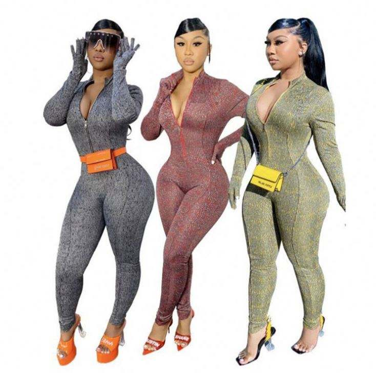 YL201215125 New Style Jumps uit Frauen 2020 Winter One Piece braun sexy gerippt Bodycon Langarm Korsett Jumps uits