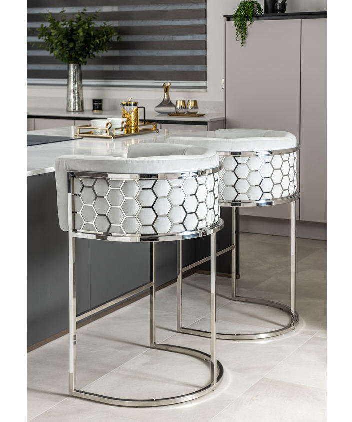 Laser Honeycomb Pattern Stainless Steel High Bar Stool Commercial Velvet Fabric Bar Chair Furniture In Silver