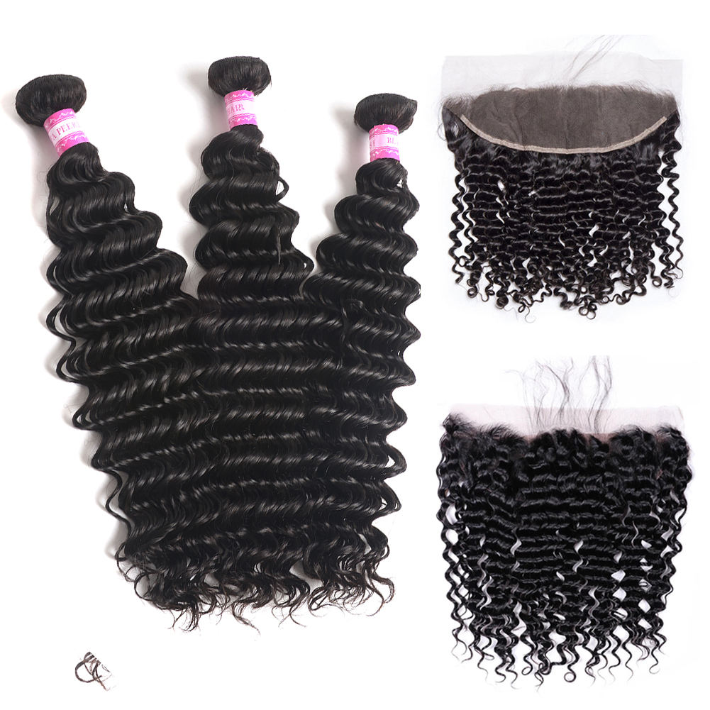 26 30 32 Inch Loose Big Curls Curly Unprocessed Human Hair Bulk Peruvian Raw Vietnamese Deep Wave Bundles With Hd Frontal