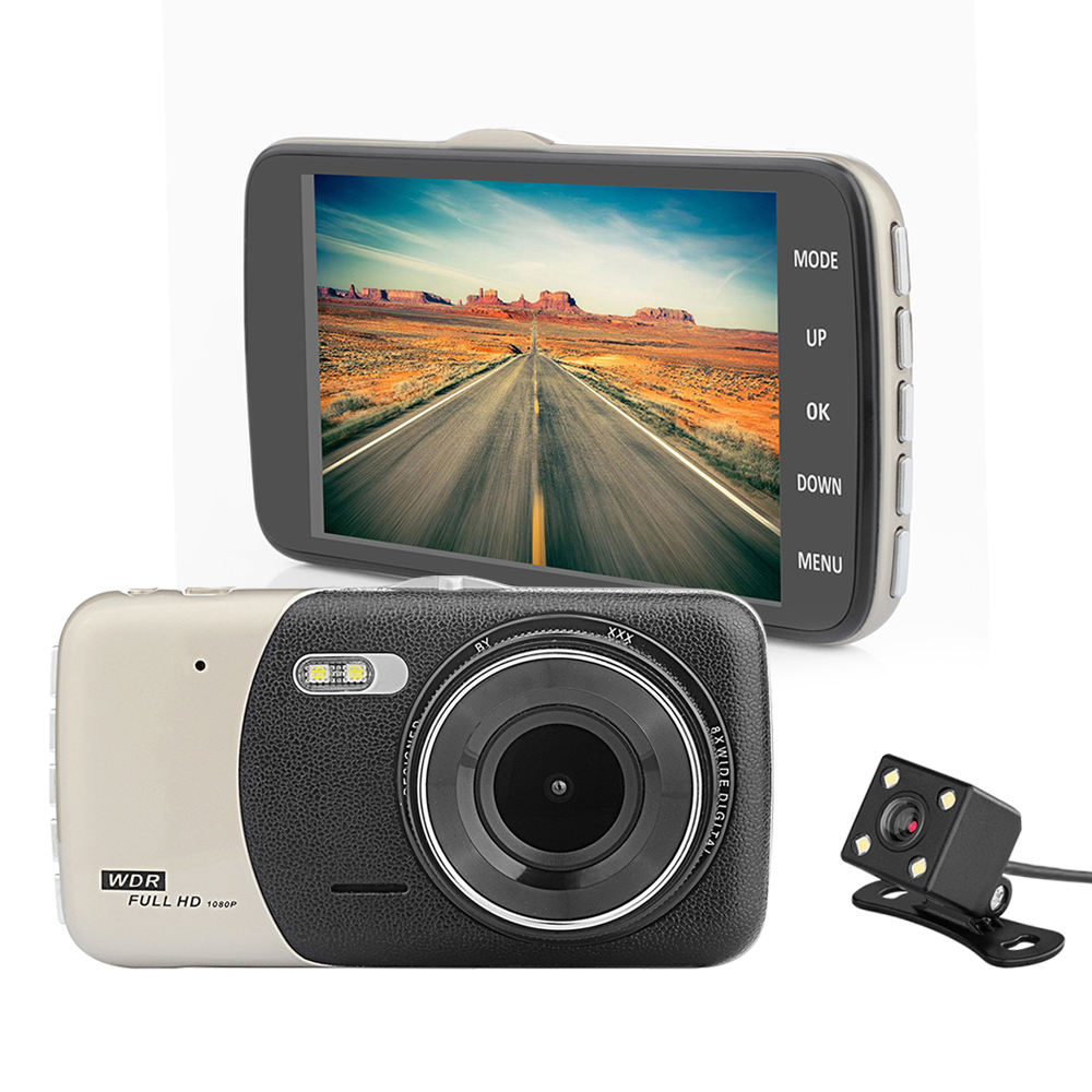 4 Inch Auto Camera Dual Lens Dash Cam 1080P Gravity Sensing Night-Vision Car Dvr Video Recorder With Rear View Camera