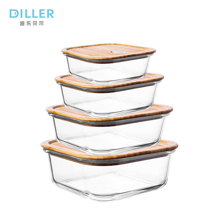 Wood bamboo lid glass food storage containers set for food storage