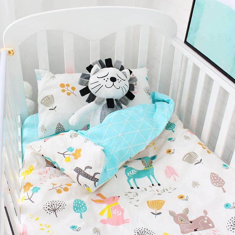 2019 popular new high quality super soft children's baby bedding 100%cotton animal printed sheet quilt cover Set