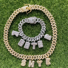 2020 INS HOT SELLING iced out BAGUETTE CUSTOM LETTER CHARM NECKLACE BRACELET CUBAN chain custom name necklace