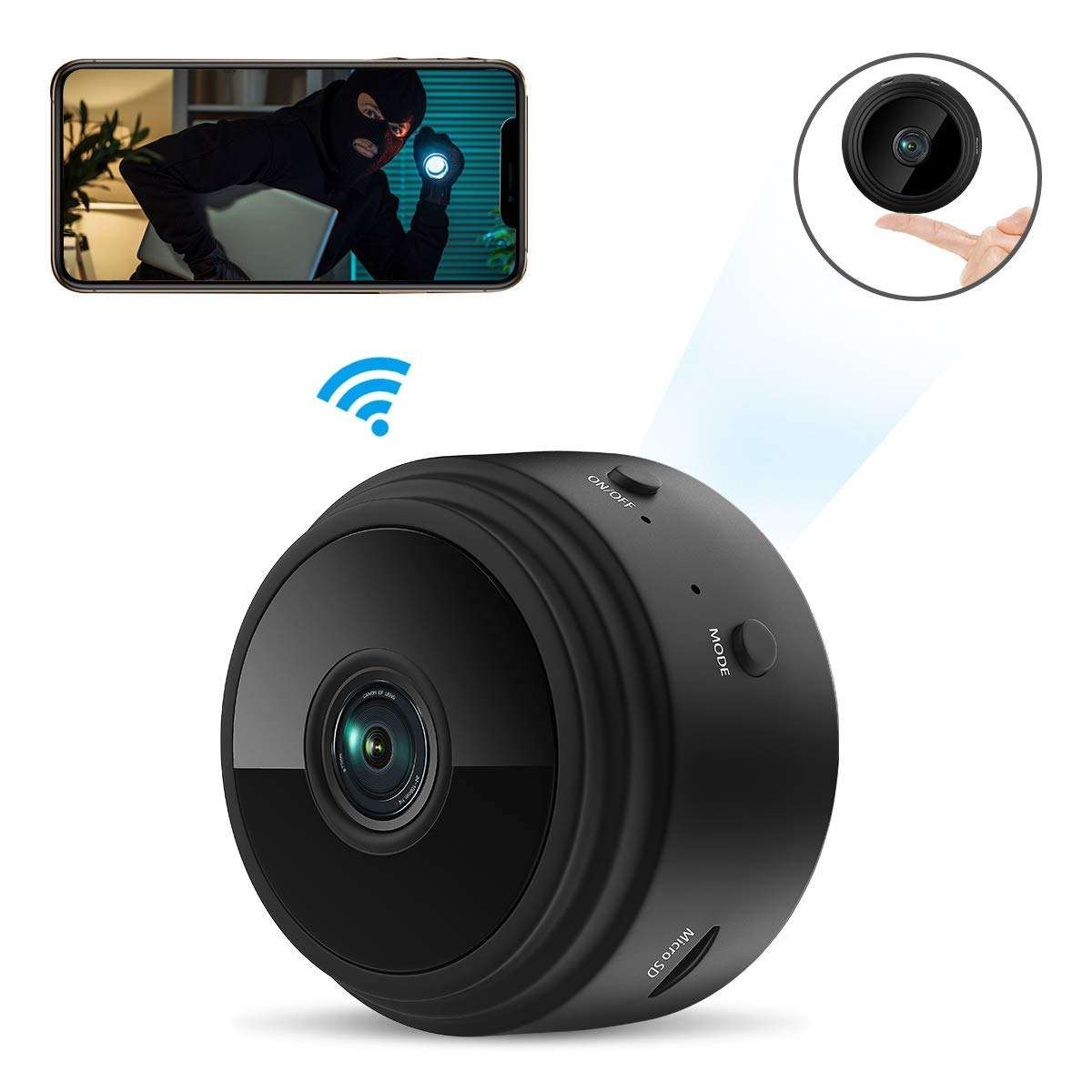 WiFi Network1080P Home Security Portable DV Camera Night Vision Outdoor Sports Recorder Black