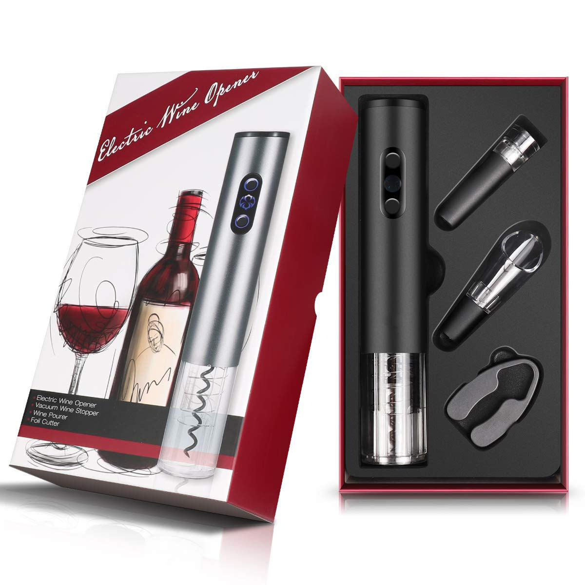 Promotion gift as seen on TV 2019 amazon bestseller automatic bottle opener electric corkscrew kit with wine aerator stopper