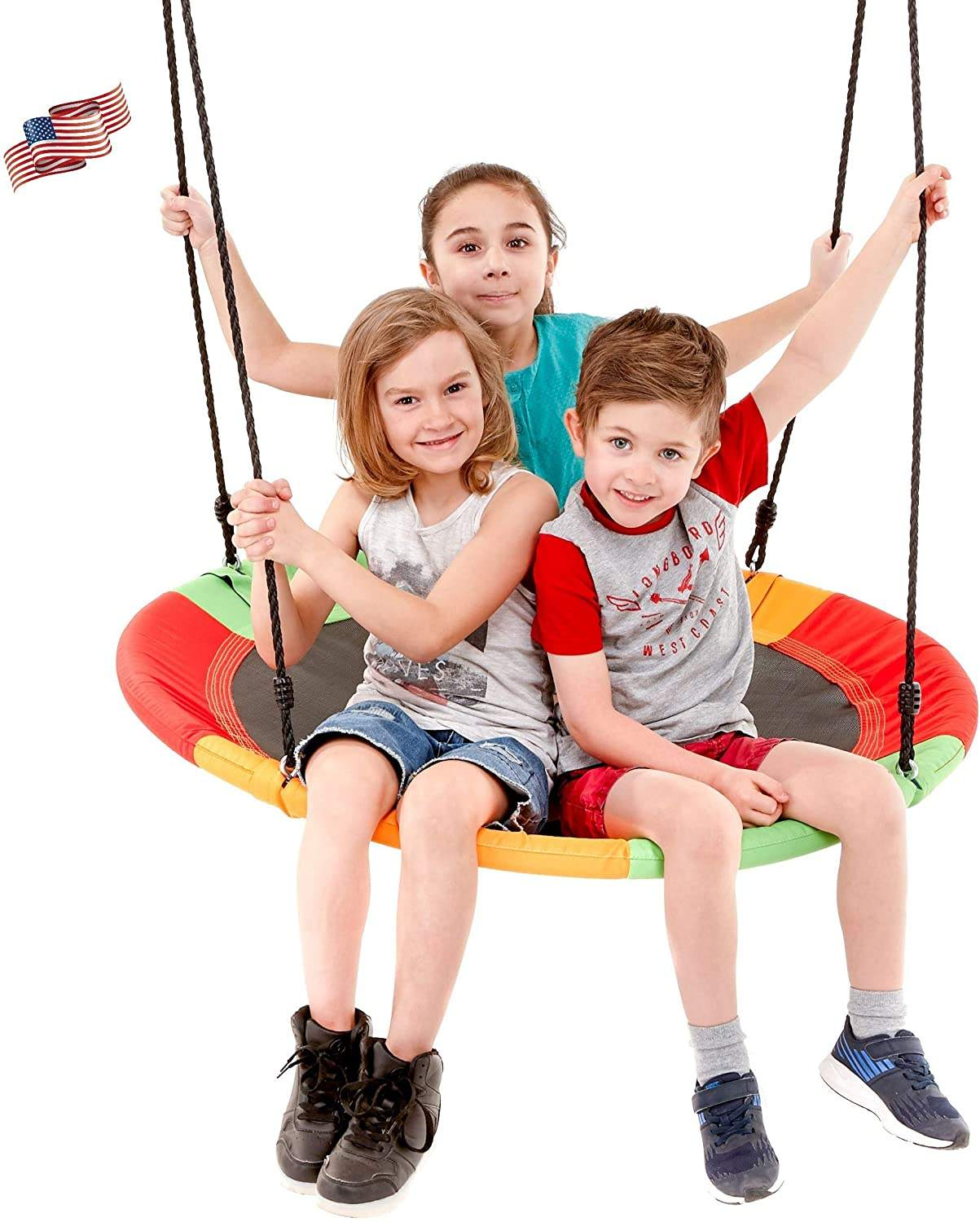Children's outdoor circular mat flying saucer swing and large circular saucer swing set