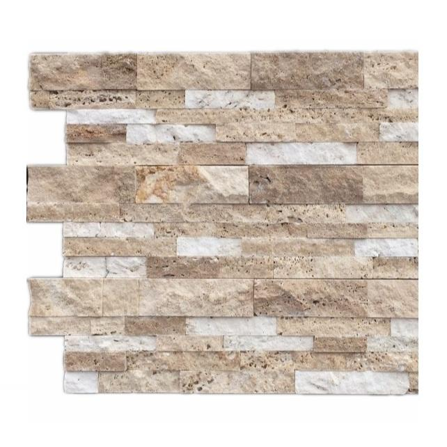 FSSW-510Z Cheap Brown Travertine And White Marble Culture Stone Wall Cladding Tiles