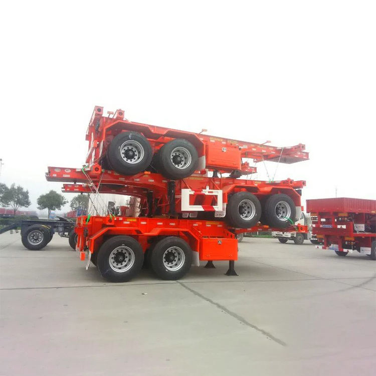Model China Trailer Pabrik Penjualan Besar 40Ft Truk Trailer Chasis 3 Axle Skeleton Semi Trailer