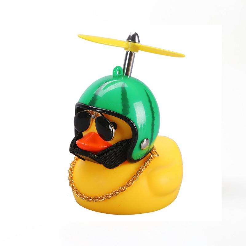 Amazon hot sales Car furnishing articles Horn bell Light Small Yellow Duck with Helmet