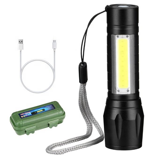 Mini lampe de poche tactique Portable en aluminium, torche Zoomable EDC, imperméable, LED, COB, rechargeable, USB