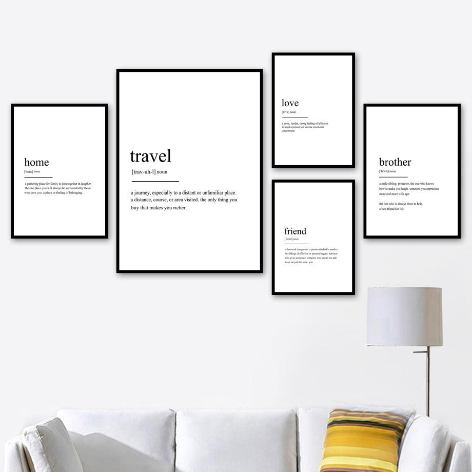 Home Friend Travel Love Definition Quotes Nordic Posters And Prints Wall Art Canvas Painting Wall Pictures For Living Room Deco