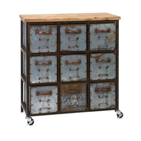 Unique Designer Classy Design High Quality Vintage Indian Design Industrial Iron 9 Drawer Cabinet Drawer Chest With Wheels