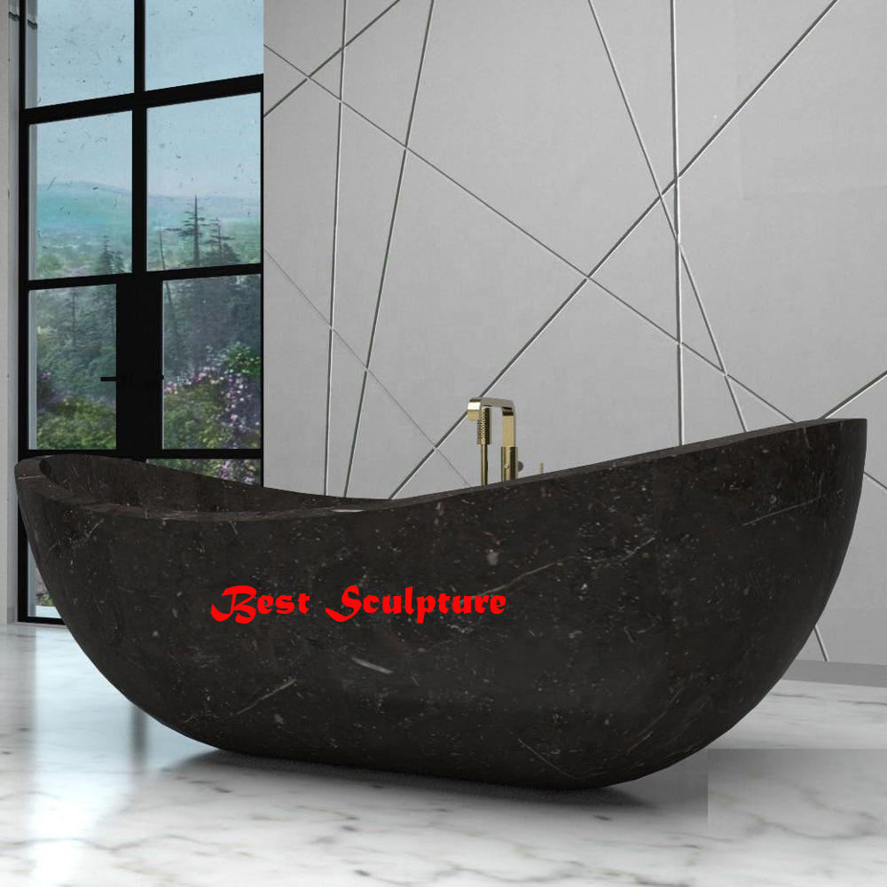 Black Marble Oval Bathtub Sculpture for sale