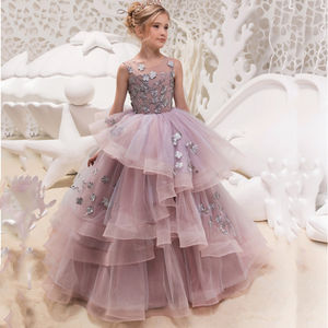Boutique Wholesale Kids Evening Gown Girls Dress Wedding Party Long Gowns Baby Purple Dressing Tulle Princess Dresses