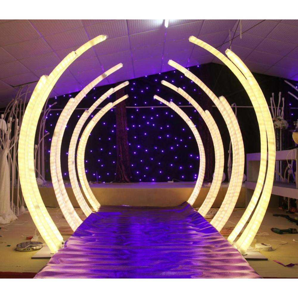 LK20190911-38 Wedding Decoration White Led Light Tunnel Pillar Road Lead White Arch Door Round Backdrop