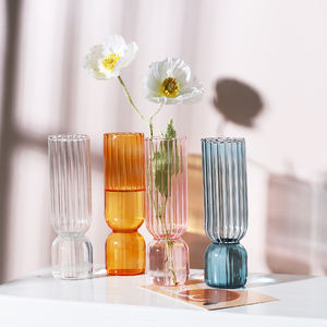 Ins Creative Striped Glass Vase Hot Selling Colorful Clear Vases