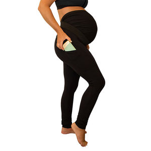 Solid color stitching long high waist side maternity pants maternity leggings